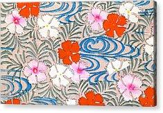 Woodblock Print Of Carnation Flowers Acrylic Print