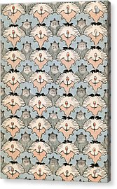 Woodblock Print Of Ibis And Bats Acrylic Print by Japanese School