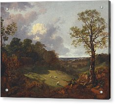 Wooded Landscape With A Cottage And Shepherd Acrylic Print by Thomas Gainsborough
