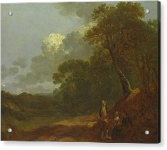 Wooded Landscape With A Man Talking To Two Seated Women  Acrylic Print by Thomas Gainsborough