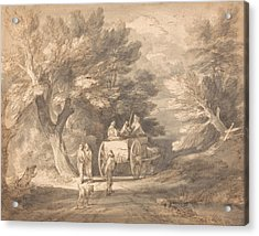 Wooded Landscape With Country Cart And Figures Walking Down A Lane Acrylic Print by Thomas Gainsborough