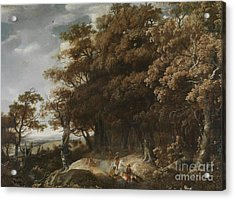 Wooded Landscape With Falconry Acrylic Print