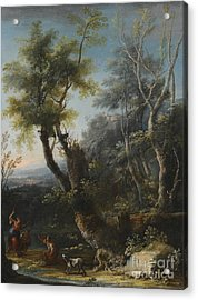 Wooded Landscape With Figures And A Dog Acrylic Print by MotionAge Designs