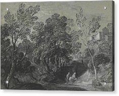 Wooded Landscape With Figures And Houses On The Hill Acrylic Print by Thomas Gainsborough