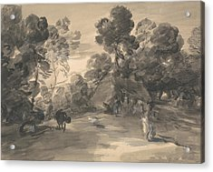 Wooded Landscape With Figures, Cottage And Cow Acrylic Print by Thomas Gainsborough