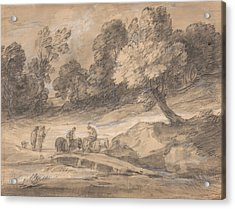 Wooded Landscape With Figures On Horseback Crossing A Bridge Acrylic Print by Thomas Gainsborough
