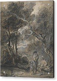 Wooded Landscape With Figures  Acrylic Print by Thomas Gainsborough