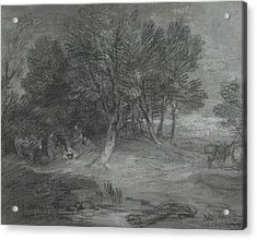 Wooded Landscape With Gypsy Encampment Acrylic Print by Thomas Gainsborough