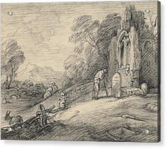 Wooded Landscape With Peasant Reading An Inscription On A Tombstone Beside A Ruined Church Acrylic Print by Thomas Gainsborough