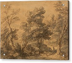 Wooded Landscape With Shepherd And Sheep Acrylic Print