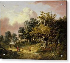 Wooded Landscape With Woman And Child Walking Down A Road  Acrylic Print by Robert Ladbrooke