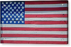 Acrylic Print featuring the photograph Wooden American Flag by Bill Cannon
