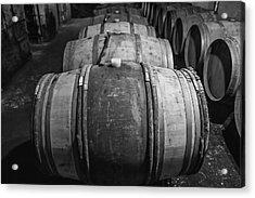 Wooden Barrels In A Wine Cellar Acrylic Print by Georgia Fowler