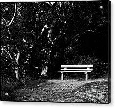 Wooden Bench In B/w Acrylic Print