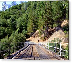Wooden Bridge Over Deep Gorge Acrylic Print by Mary Deal