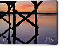 Wooden Bridge Silhouette At Dusk Acrylic Print