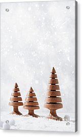 Wooden Christmas Tree Decorations Acrylic Print by Amanda Elwell