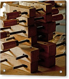 Wooden Clamps Acrylic Print by Wilma  Birdwell