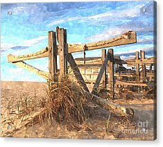 Wooden Cross Falmouth Beach Acrylic Print by Bryan Attewell