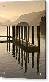 Wooden Dock In The Lake At Sunset Acrylic Print
