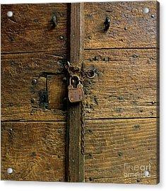 Wooden Door Acrylic Print by Bernard Jaubert