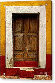 Wooden Door With White Trim Acrylic Print by Mexicolors Art Photography