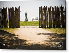 Wooden Fence And Statue Of John Smith Acrylic Print by Roberto Westbrook