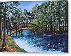 Acrylic Print featuring the painting Wooden Foot Bridge At The Park by Penny Birch-Williams