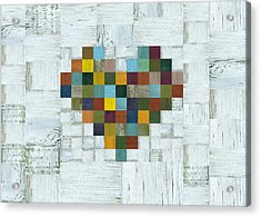 Acrylic Print featuring the digital art Wooden Heart 2.0 by Michelle Calkins
