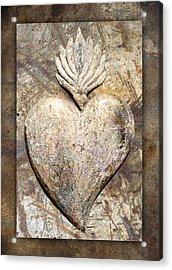 Wooden Heart Acrylic Print by Carol Leigh