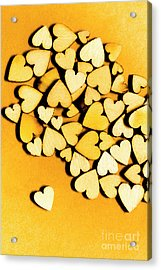 Wooden Hearts With Sentimental Single Acrylic Print by Jorgo Photography - Wall Art Gallery