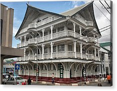 Wooden House In Colonial Style In Downtown Suriname Acrylic Print by Patricia Hofmeester