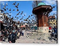 Wooden Ottoman Sebilj Water Fountain In Sarajevo Bascarsija Bosnia Acrylic Print