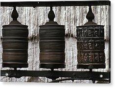 Wooden Prayer Wheels Acrylic Print by Sean White