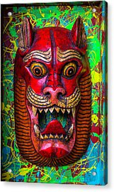 Wooden Red Cat Mask Acrylic Print by Garry Gay