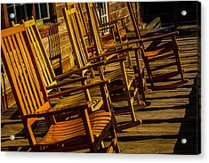Wooden Rocking Chairs Acrylic Print by Garry Gay