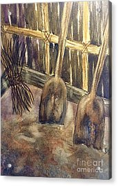 Wooden Shovels N Stick Bundle Still Life  Acrylic Print by Ellen Levinson