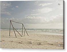 Wooden Soccer Net On Beach Acrylic Print