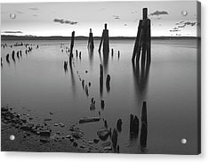 Wooden Soldiers Of The Hudson Monochrome Acrylic Print