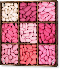 Wooden Storage Box Filled With Pink Sugared Almonds. Acrylic Print by Jane Rix