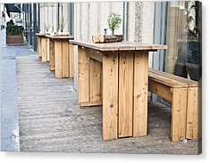 Wooden Tables Acrylic Print by Tom Gowanlock