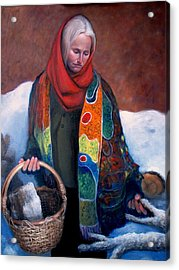 Acrylic Print featuring the painting Woodgatherer by Donelli  DiMaria