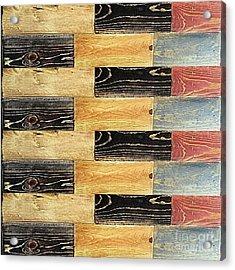 Woodgrain Art Abstract Golds Black Blues Acrylic Print by Scott D Van Osdol