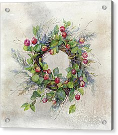 Woodland Berry Wreath Acrylic Print