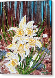 Acrylic Print featuring the painting Woodland Daffodils by Judith Rhue