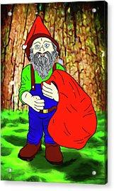 Acrylic Print featuring the digital art Woodland Elf With Sack by John Haldane