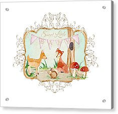 Woodland Fairytale - Banner Sweet Little Baby Acrylic Print by Audrey Jeanne Roberts