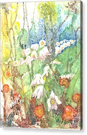 Acrylic Print featuring the painting Woodland Garden by Renate Nadi Wesley