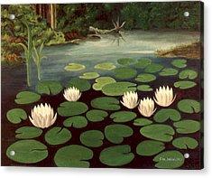 Woodland Hidden Pond Acrylic Print by Fred Jinkins