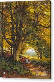 Woodland Scene In Summer With Children On A Path Acrylic Print